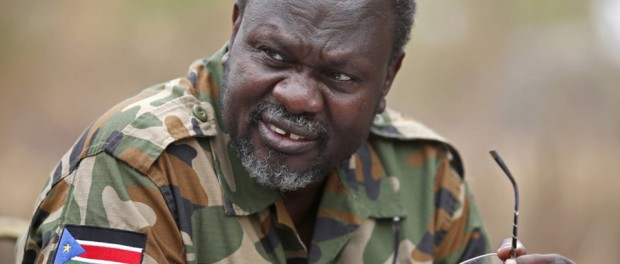 South Sudan's rebel leader Riek Machar speaks to rebel General Peter Gatdet Yaka in a rebel controlled territory in Jonglei State